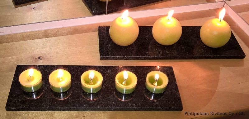 kynttilänalusta kivi