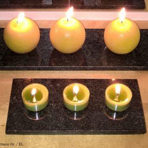 Kivialusta Kynttilälle, Musta – Eri Kokoja